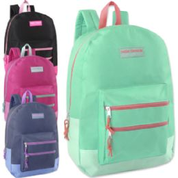 "24 Units of High Trails 18 Inch Double Zip Backpack - Girls - Backpacks 18"" or Larger"
