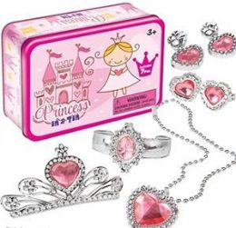 12 Units of Princess In A Tin Dress Up KiT- 7 Piece - Magic & Joke Toys