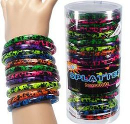12 Units of 36 Piece Neon Splatter Bracelets - Bracelets