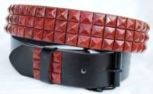 12 Units of Pyramid Studded Red Belt - Unisex Fashion Belts