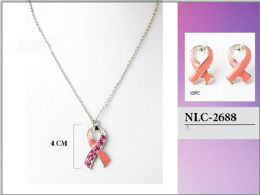 60 Units of Wholesale Breast Cancer Pink Ribbon Necklace With Earring - Necklace