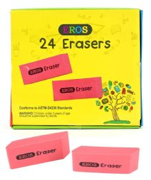 240 Units of Pink Bevel Rubber Erasers - Erasers