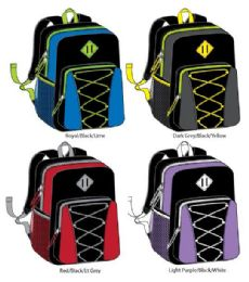 "24 Units of 17"" Bungee Backpacks With Side Mesh Pocket - Assorted Colors - Backpacks 17"""