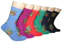 360 Units of Women's Novelty Crew Socks - Owl Print - Size 9-11 - Womens Crew Sock