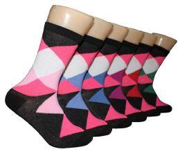 360 Units of Women's Novelty Crew Socks - Argyle Print - Size 9-11 - Womens Crew Sock