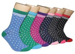 360 Units of Women's Novelty Crew Socks - Dot Print - Size 9-11 - Womens Crew Sock
