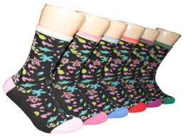 360 Units of Women's Novelty Crew Socks - Flower Print - Size 9-11 - Womens Crew Sock
