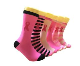 360 Units of Women's Novelty Crew Socks - Breast Cancer Awareness - Size 9-11 - Womens Crew Sock