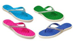 48 Units of Women's Sandals With/ Rhinestone Straps - Assorted Colors - Women's Flip Flops