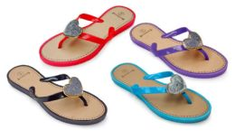 48 Units of Women's Sandals With/ Heart Adornment - Assorted Colors - Women's Flip Flops
