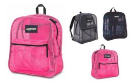 "24 Units of 17"" Durable Mesh Material Backpacks - Assorted Colors - Backpacks 17"""