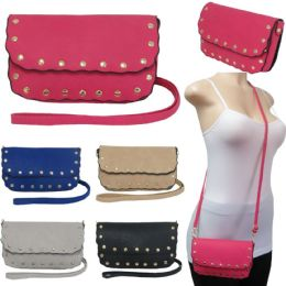 36 Units of Scalloped Edge Crossbody Bags With/ Studded Adornment - Shoulder Bags & Messenger Bags