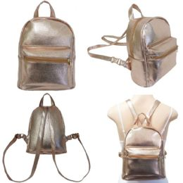 "18 Units of 10"" Faux Leather Mini Backpacks - Rose Gold - Backpacks 15"" or Less"