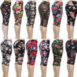 48 Units of Women's Capri Leggings - Floral Prints - One Size Fits Most - Womens Leggings