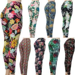 60 Units of Women's Fashion Leggings - Assorted Floral Prints - Womens Leggings