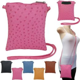 "36 Units of 10"" Faux Ostrich Crossbody Bags With/ Rear Phone Pocket - Shoulder Bags & Messenger Bags"