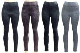 72 Units of Women's Washed Denim Seamless Leggings - Assorted Colors - One Size Fits Most - Womens Leggings