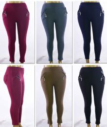 72 Units of Women's Plus Size PulL-On Pants With/ Side Zipper - Assorted Colors - Sizes 1X-3x - Womens Leggings