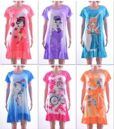 72 Units of Women's Nightgowns - Assorted Graphic Prints - Sizes SmalL-xl - Women's Pajamas and Sleepwear