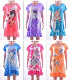 72 Units of Women's Nightgowns - Assorted Graphic Prints - Sizes MediuM-Xxl - Women's Pajamas and Sleepwear