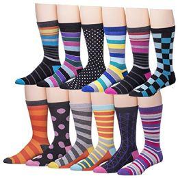 Men's Pattern Dress Socks Cotton Blend Colorful Designes (3600) - Mens Dress Sock
