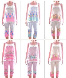72 Units of Women's Tank Top & Capri Pajama Set - Assorted Prints - Sizes SmalL-xl - Women's Pajamas and Sleepwear