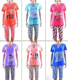 72 Units of Women's Short Sleeve & Capri Pajama Set - Assorted Prints - Sizes MediuM-Xxl - Women's Pajamas and Sleepwear