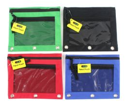 48 Units of 3-Ring Pencil Pouch with/ Mesh Window - Pencil Boxes & Pouches