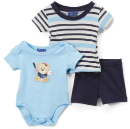 24 Units of Newborn Boy's Shorts, T-Shirt & Onesie Set - Bear Prints - Sizes 3-12m - Newborn Boys Apparel