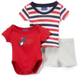 24 Units of Newborn Boy's Shorts, T-Shirt & Onesie Set - Dinosaur Prints - Sizes 3-12m - Newborn Boys Apparel