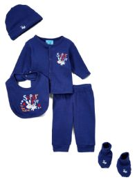 "24 Units of Newborn Boys ""super Pup"" Set - Dog Prints - Sizes 0-9m - Newborn Boys Apparel"