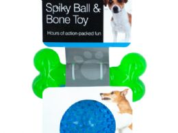 18 Units of Spiky Ball & Bone Dog Toy Set - Pet Toys