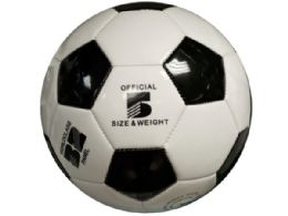 6 Units of Size 5 Black & White Glossy Soccer Ball - Balls