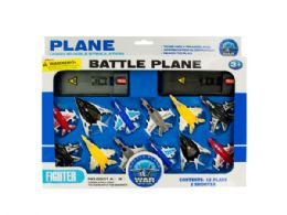 12 Units of Toy Jet Fighter Planes with Launch Pads Set - Toy Sets
