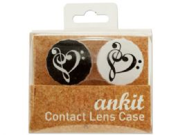 144 Units of Heart Treble Print Contact Lens Case - Eyeglass & Sunglass Cases