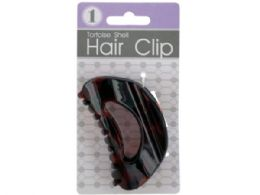 72 Units of Rounded Tortoise Shell Claw Hair Clip - Hair Accessories