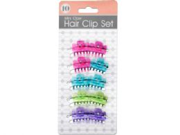 72 Units of Colored Mini Claw Hair Clip Set - Hair Accessories