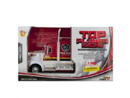 6 Units of Friction Powered Police Semi-Trailer Truck - Cars, Planes, Trains & Bikes