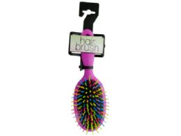 36 Units of Rainbow Oval Paddle Hair Brush - Hair Brushes & Combs