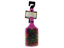 36 Units of Rainbow Square Paddle Hair Brush - Hair Brushes & Combs