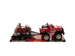 6 Units of Friction Powered Fire Rescue Trailer Truck with ATV - Toy Sets