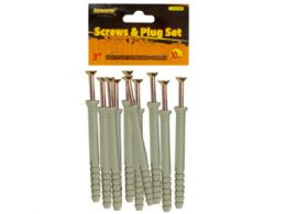 "72 Units of 3"" Screws with Ribbed Plastic Anchors Set - Hardware Shop Equipment"