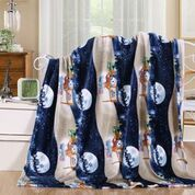 24 Units of Christmas Throw In Night Snowman Print - Fleece & Sherpa Blankets