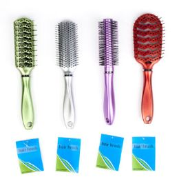 96 Units of Metallic Hair Brush - Hair Brushes & Combs