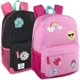 """24 Units of 18 Inch Patches Backpack With Side Pockets - Backpacks 18"""" or Larger"""