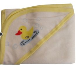 16 Units of Hooded Terry Bath Towel With Prints & Colored Trim - Baby Accessories