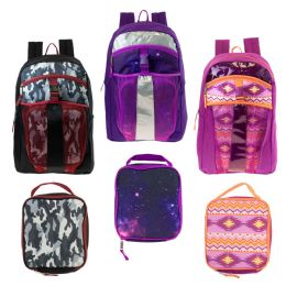 "24 Units of 17"" Wholesale Backpacks With Lunch Box In 3 Assorted Prints - Backpacks 17"""