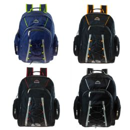 """24 Units of 18"""" Wholesale Premium Backpack with Laptop Feature in 4 Assorted Colors - Backpacks 18"""" or Larger"""