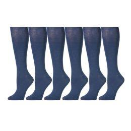 6 Pairs of Girls Knee High Socks, Cotton, Flat Knit, School Socks (7 - 8.5, Denim) - Womens Knee Highs