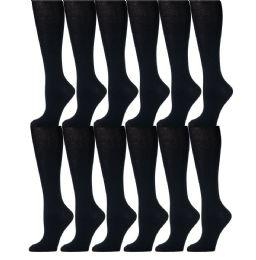 12 Pairs of Girls Knee High Socks, Cotton, Flat Knit, School Socks (8 - 9.5 ,Navy) - Womens Knee Highs